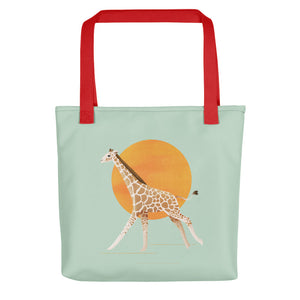 Giraffe and Sun | Light Green | Tote Bag-tote bags-Red-Eggenland
