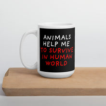 Load image into Gallery viewer, Animals Help Me | Black | Mug-mugs-15oz-Eggenland