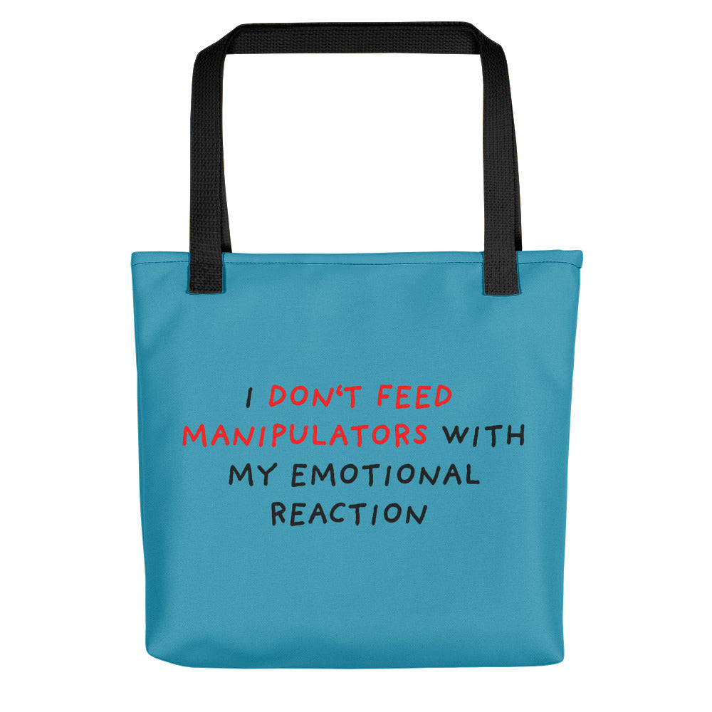 Don't Feed Manipulators | Blue | Tote Bag-tote bags-Black-Eggenland