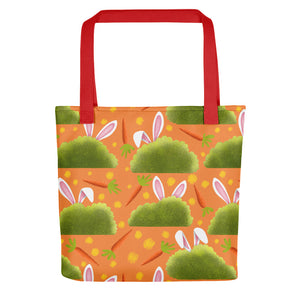 Rabbits and Carrots | Orange | Tote Bag-tote bags-Red-Eggenland