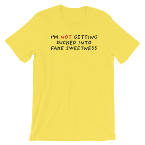 No Fake Sweetness | Short-Sleeve Unisex T-Shirt-t-shirts-Yellow-S-Eggenland
