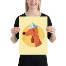 Load image into Gallery viewer, Dog with Newspaper Hat | Yellow | Poster-posters-12×16-Eggenland