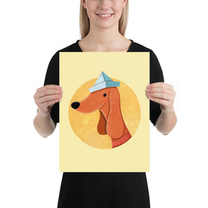 Dog with Newspaper Hat | Yellow | Poster-posters-12×16-Eggenland