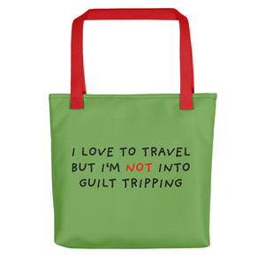 No Guilt Tripping | Green | Tote Bag-tote bags-Red-Eggenland
