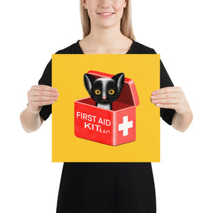 First Aid Kitten | Illustration | Yellow | Poster-posters-14×14-Eggenland