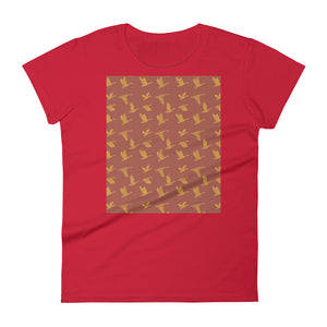 Flying Birds Pattern | Red | Women's Short-Sleeve T-Shirt-t-shirts-Red-S-Eggenland