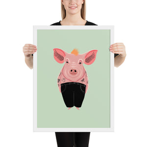 Cool Pig With Tattoos | Illustration | Green | Framed Posters-framed posters-White-18×24-Eggenland