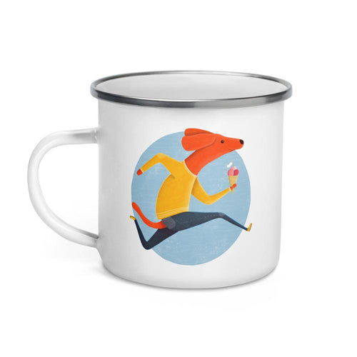 Dog with Ice Cream | Enamel Mug-enamel mugs-Eggenland