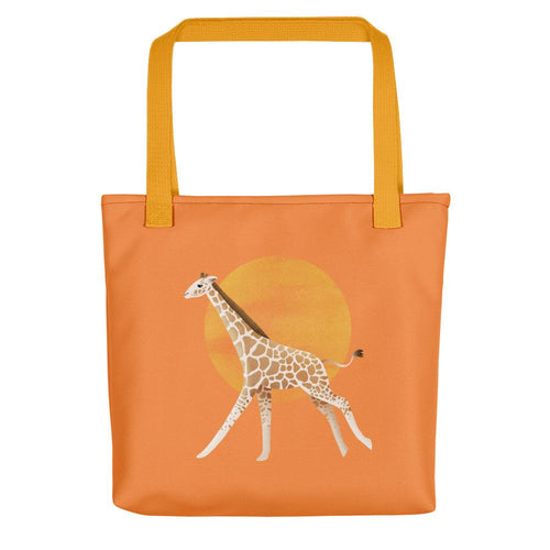 Giraffe and Sun | Orange | Tote Bag-tote bags-Yellow-Eggenland
