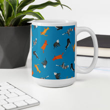 Load image into Gallery viewer, Funky Cats Pattern | Blue | Mug-mugs-Eggenland