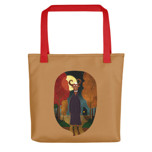 Deer Creature at Night | Light Brown | Tote Bag-tote bags-Red-Eggenland