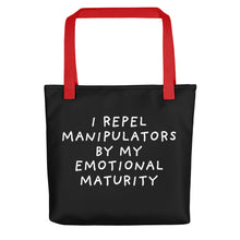 Load image into Gallery viewer, Emotional Maturity | Black | Tote Bag-tote bags-Red-Eggenland
