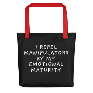 Emotional Maturity | Black | Tote Bag-tote bags-Red-Eggenland
