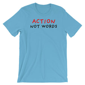 Action Not Words | Short-Sleeve Unisex T-Shirt-t-shirts-Ocean Blue-S-Eggenland