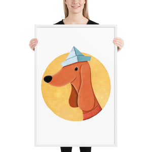 Dog With Newspaper Hat | Illustration | Framed Poster-framed posters-White-24×36-Eggenland
