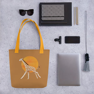 Giraffe and Sun | Light Brown | Tote Bag-tote bags-Eggenland