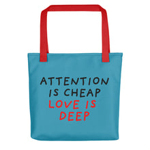 Load image into Gallery viewer, Attention Is Cheap | Blue | Tote Bag-tote bags-Red-Eggenland