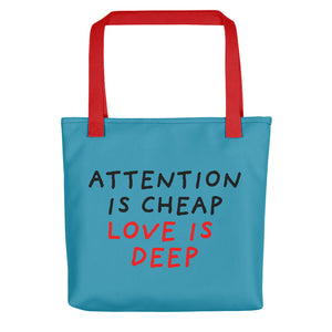 Attention Is Cheap | Blue | Tote Bag-tote bags-Red-Eggenland