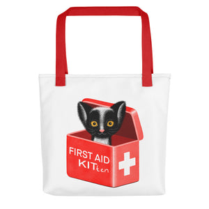 First Aid Kitten | White | Tote Bag-tote bags-Red-Eggenland