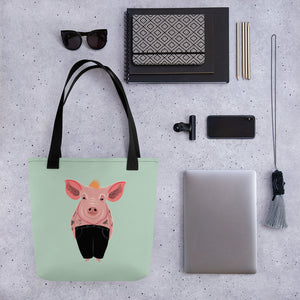 Cool Pig with Tattoos | Light Green | Tote Bag-tote bags-Eggenland