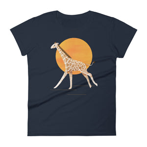 Giraffe and Sun | Women's Short-Sleeve T-Shirt-t-shirts-Navy-S-Eggenland