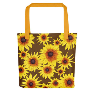 Blooming Flowers | Brown | Tote Bag-tote bags-Yellow-Eggenland