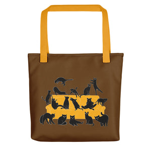Black Cats Party | Brown | Tote Bag-tote bags-Yellow-Eggenland