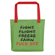 Load image into Gallery viewer, Five F of Fear | Green | Tote Bag-tote bags-Red-Eggenland