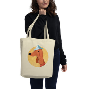Dog With Newspaper Hat | Eco Tote Bag-tote bags-Eggenland