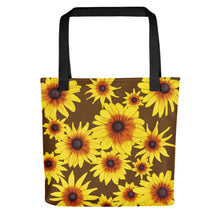Load image into Gallery viewer, Blooming Flowers | Brown | Tote Bag-tote bags-Black-Eggenland
