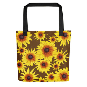 Blooming Flowers | Brown | Tote Bag-tote bags-Black-Eggenland