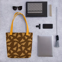Load image into Gallery viewer, Paper Planes Pattern | Golden and Brown | Tote Bag-tote bags-Eggenland
