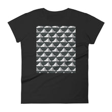 Load image into Gallery viewer, Paper Hats Pattern | Black and White | Women's Short-Sleeve T-Shirt-t-shirts-Black-S-Eggenland