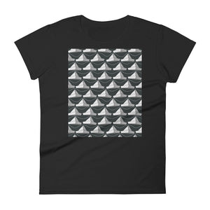 Paper Hats Pattern | Black and White | Women's Short-Sleeve T-Shirt-t-shirts-Black-S-Eggenland