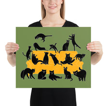 Load image into Gallery viewer, Black Cats Party | Green | Illustration | Poster-posters-16×20-Eggenland