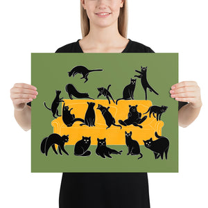 Black Cats Party | Green | Illustration | Poster-posters-16×20-Eggenland