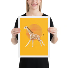 Load image into Gallery viewer, Giraffe and Sun | Illustration | Yellow | Framed Poster-framed posters-White-12×16-Eggenland