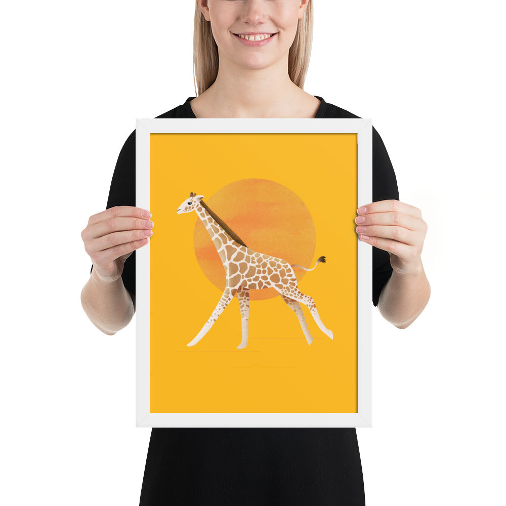 Giraffe and Sun | Illustration | Yellow | Framed Poster-framed posters-White-12×16-Eggenland