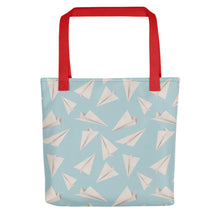 Load image into Gallery viewer, Paper Planes Pattern | Blue | Tote Bag-tote bags-Red-Eggenland