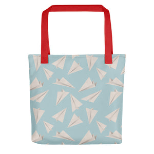 Paper Planes Pattern | Blue | Tote Bag-tote bags-Red-Eggenland