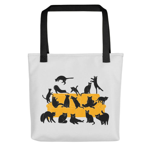 Black Cats Party | Light Grey | Tote Bag-tote bags-Black-Eggenland