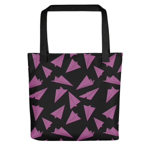 Paper Planes Pattern | Black and Pink | Tote Bag-tote bags-Black-Eggenland