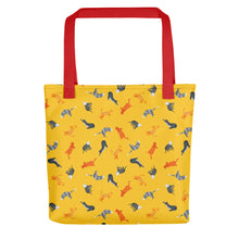 Load image into Gallery viewer, Funky Cats Pattern | Yellow | Tote Bag-tote bags-Red-Eggenland