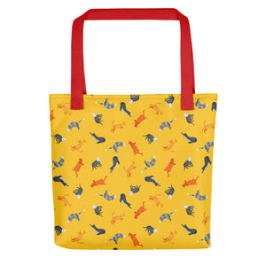 Funky Cats Pattern | Yellow | Tote Bag-tote bags-Red-Eggenland