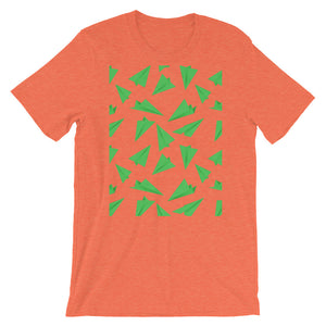 Paper Planes Pattern | Green | Short-Sleeve Unisex T-Shirt-t-shirts-Heather Orange-S-Eggenland