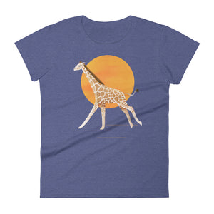 Giraffe and Sun | Women's Short-Sleeve T-Shirt-t-shirts-Heather Blue-S-Eggenland