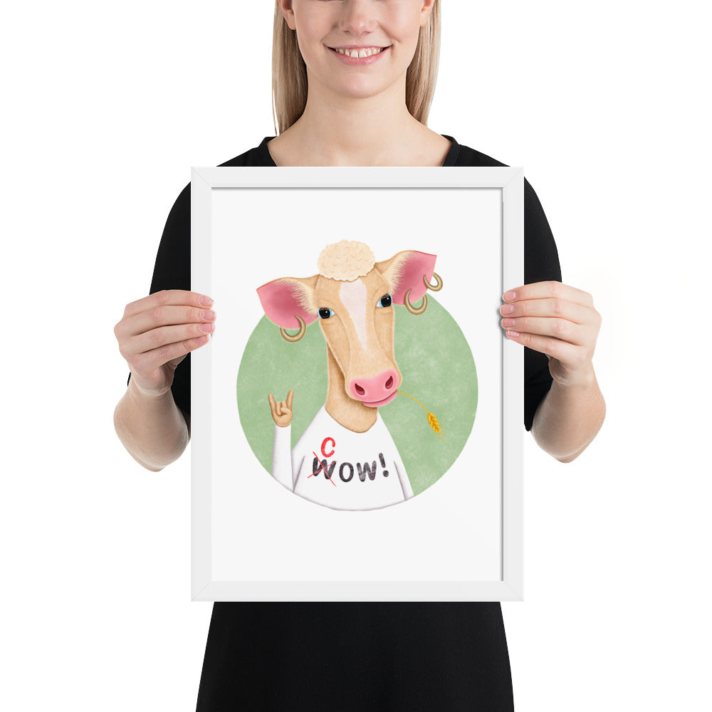 Wow Cow | Illustration | Framed Poster-framed posters-White-12×16-Eggenland