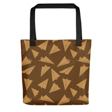 Load image into Gallery viewer, Paper Planes Pattern | Golden and Brown | Tote Bag-tote bags-Black-Eggenland