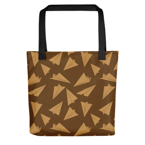 Paper Planes Pattern | Golden and Brown | Tote Bag-tote bags-Black-Eggenland