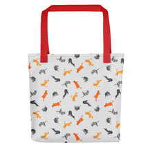 Load image into Gallery viewer, Funky Cats Pattern | Light Grey | Tote Bag-tote bags-Red-Eggenland